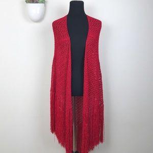 Machine Crochet Long Open Front